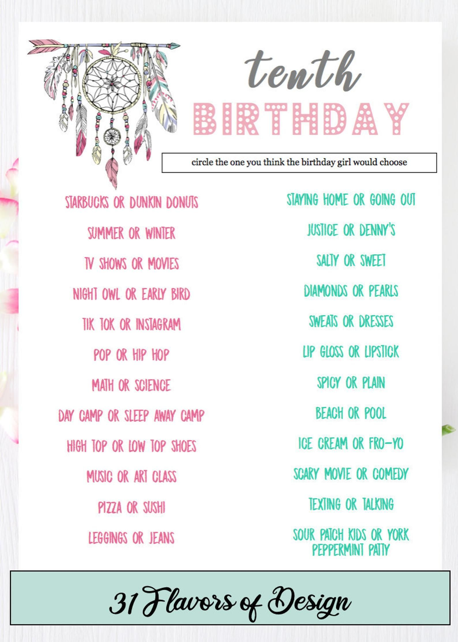 Girls Birthday Party Game Who Knows the Birthday Girl