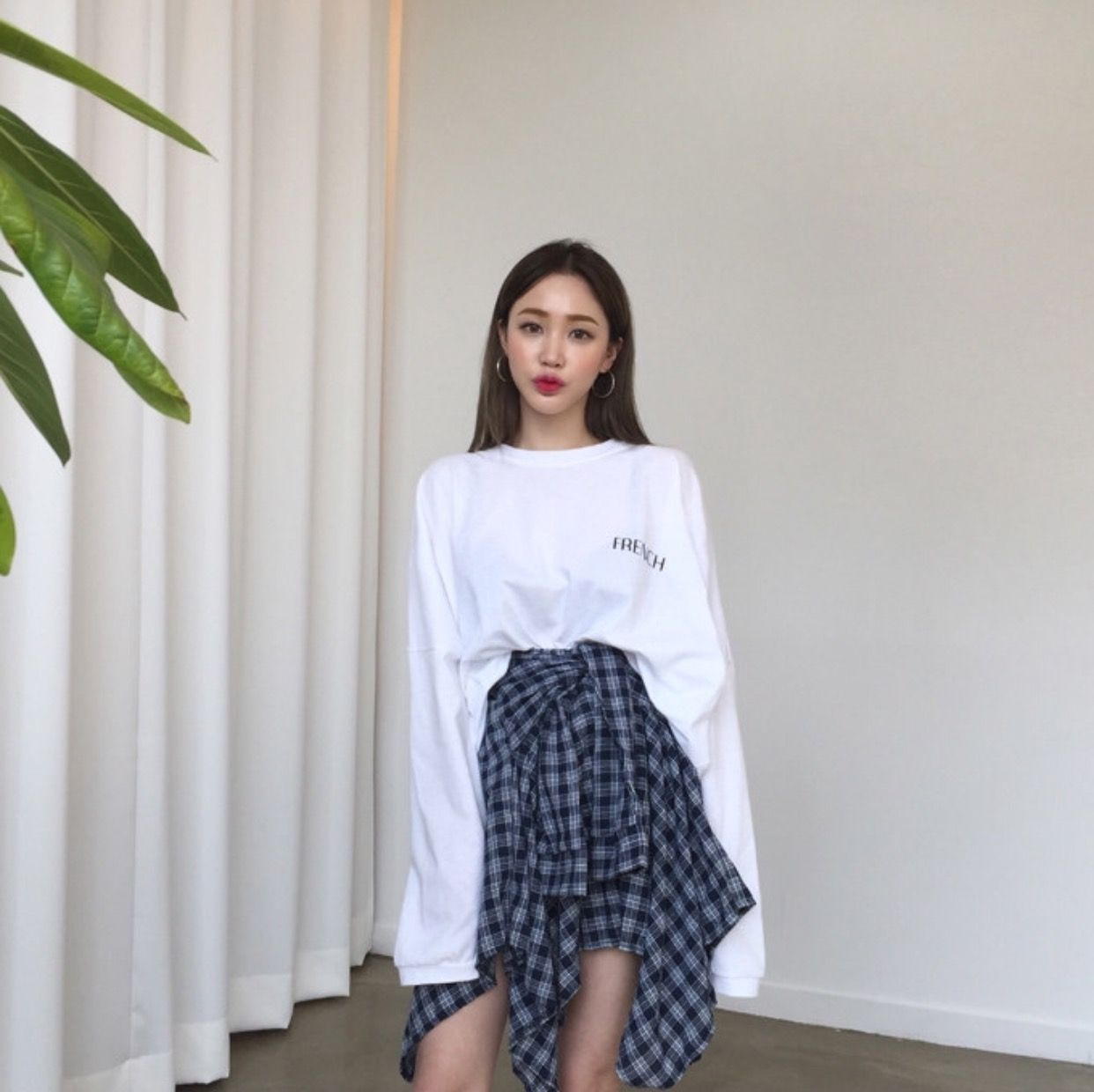 Flannel outfits for women  white sweater u flannel skirt    o u t f i t s   Pinterest