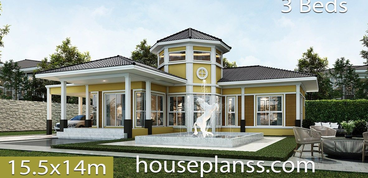 House design Plans 15.5x14 with 3 bedrooms Home building