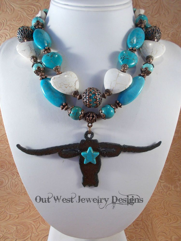 Western Necklace Set - Aqua & White Howlite Turquoise - Texas Longhorn #Handmade #Statement