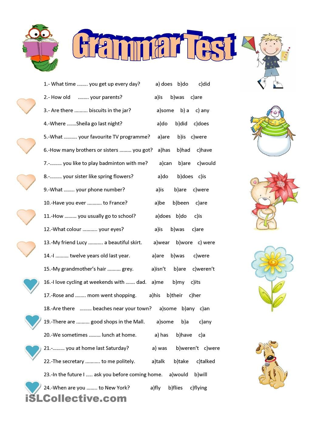 Grammar test | Enkku | Grammar,English grammar worksheets ...