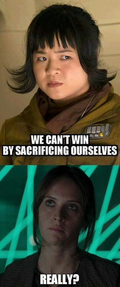 Thank You Rose Is Mostly A Good Character But I Disliked That Moment Intensely Star Wars Jokes Star Wars Memes Star Wars Humor