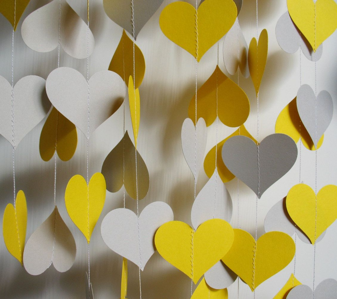 Wedding decorations yellow and gray  Paper Garland u Yellow and Gray Hearts  Garlands Etsy and Craft