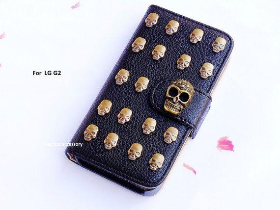 LG G2 case - Lg G2 Wallet case - Skull phone case - Leather wallet - Studded phone case- Strap Wallet - credit card - Lg G2 cover - Handmade