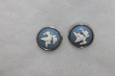 Vintage Avon White Dove Blue Cabochon Stud Earrings Silvertone