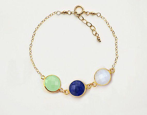 Natural Birthstone Bezel Set Station Gold Bracelet Danique Mother Grandma Three Kids Children Sisters Gift