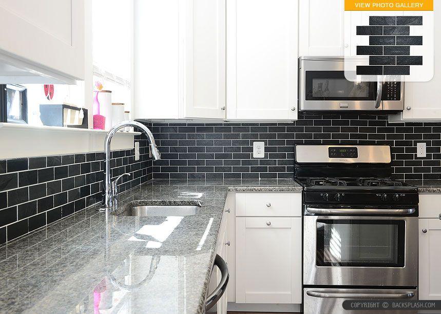 White And Black Kitchen Backsplashes white-cabinet-new-caledonia-granite-black-slate-backsplash-tile1 i