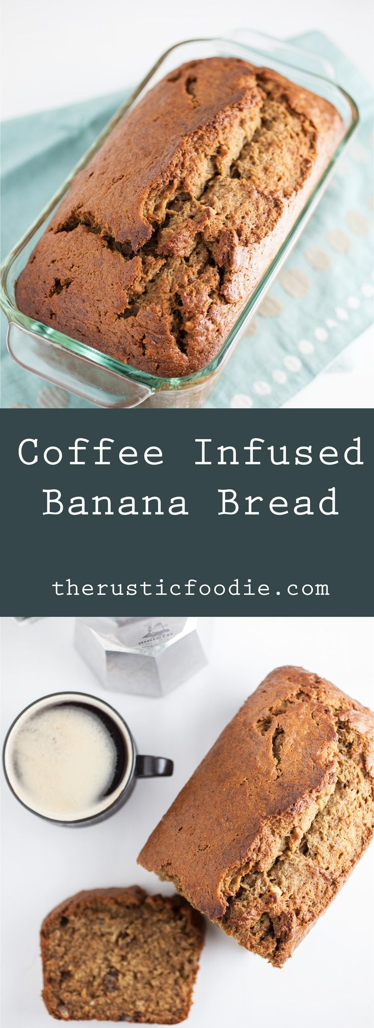 Happy Banana Bread Day! Coffee Infused Banana Bread - A moist banana bread recipe accented with the flavors of coffee, cinnamon, and walnuts. Perfect for breakfast or an after dinner treat!