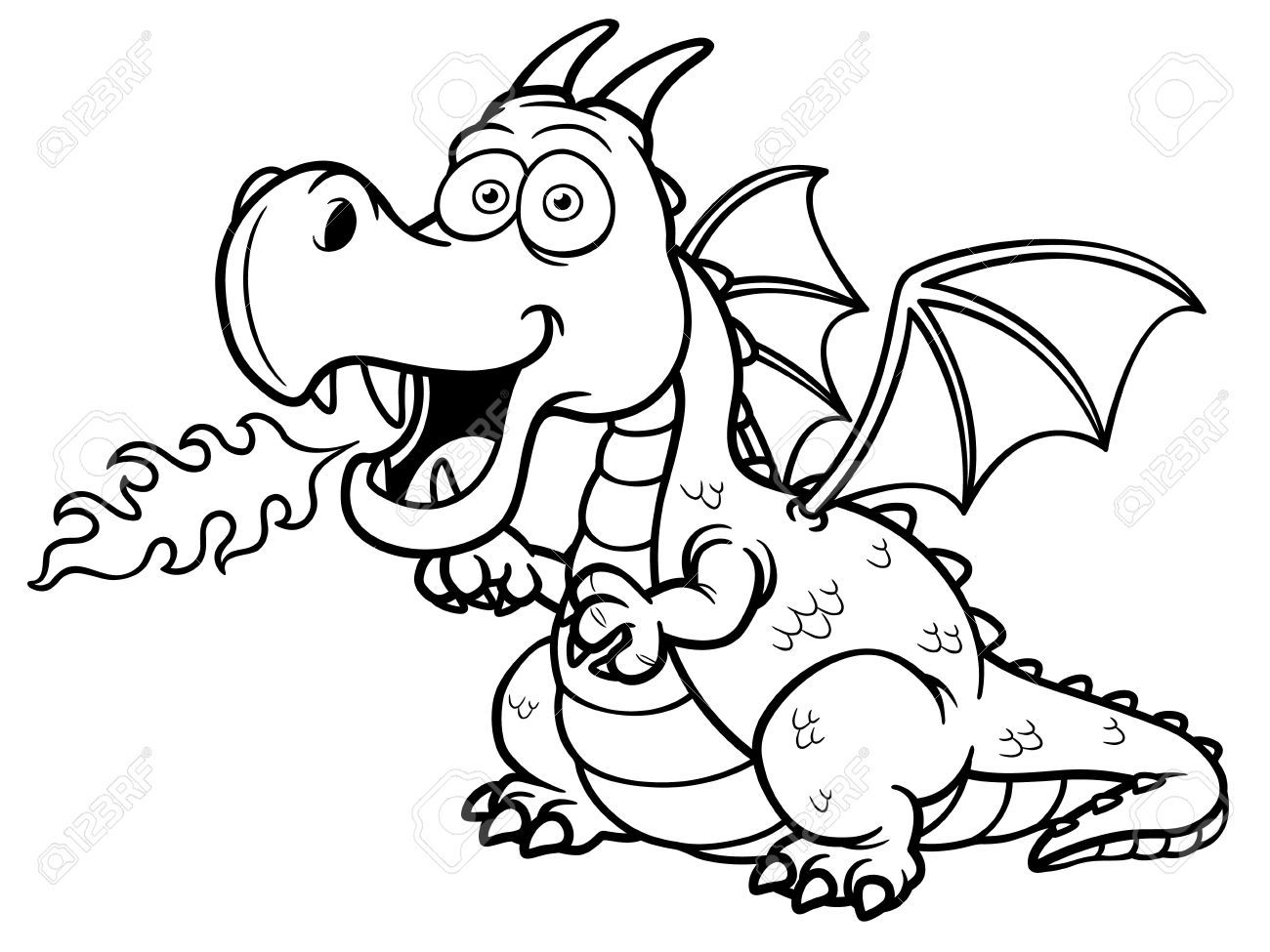 Vector Illustration Of Cartoon Dragon Fire Coloring Book Unicorn Coloring Pages Dragon Coloring Page Coloring Books