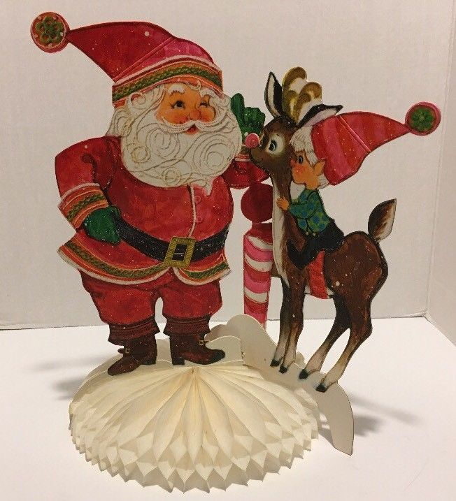vintage hallmark christmas home paper 3d table decorations santa reindeer elf hallmark christmas ebay and shapes - Ebay Christmas Table Decorations