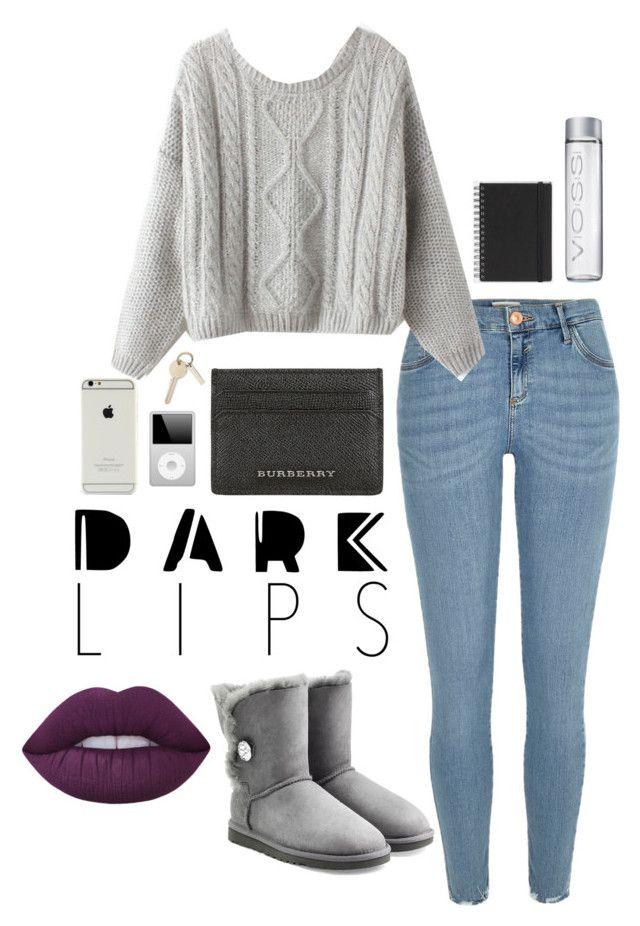 """Dare to Wear: Super Dark Lipstick"" by kiki-aleksandrov ❤ liked on Polyvore featuring beauty, River Island, UGG Australia, Muji, Burberry, Lime Crime and darklips"