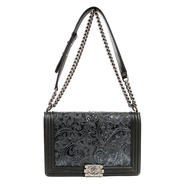 a20e0624bafa18 Chanel Black Tooled Leather Paris Dallas Large Cordoba Boy Bag   From a  unique collection of
