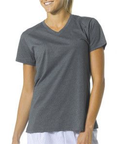 A4 Ladies' Fusion Short-Sleeve V-Neck Tee NW3232 Charcoal