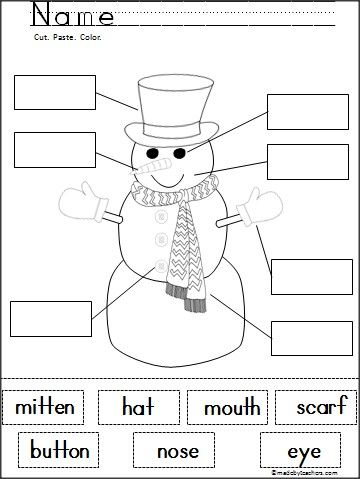 free snowman labeling cut and paste activity pinterest 四季 と