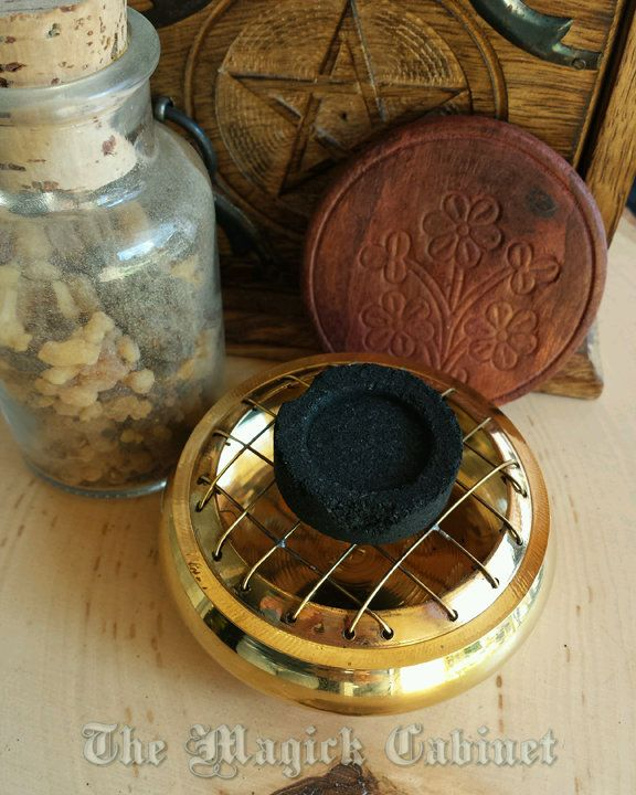 Small Brass Charcoal Burner for Resin Incense, Incense