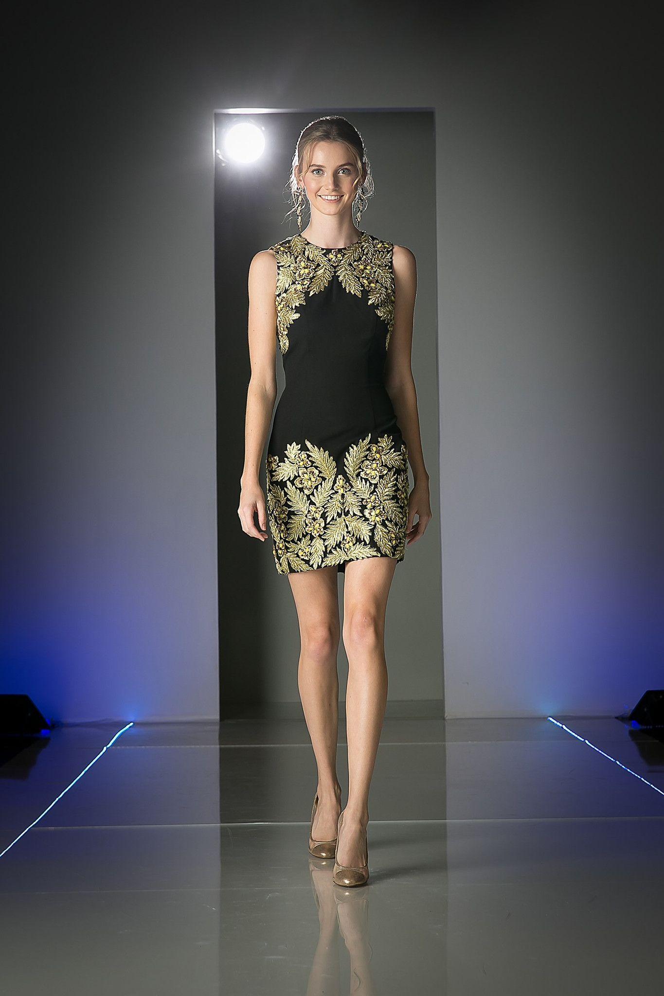 Modern formal designer black gold cocktail dress beaded detail
