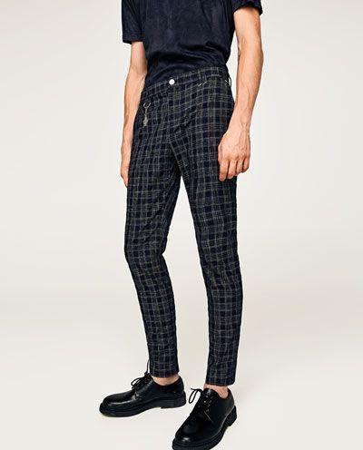 Imagen 2 De Pantalon Cuadros Marino De Zara Moda Ropa Hombre Ropa Casual Hombres Estilo De Ropa Hombre