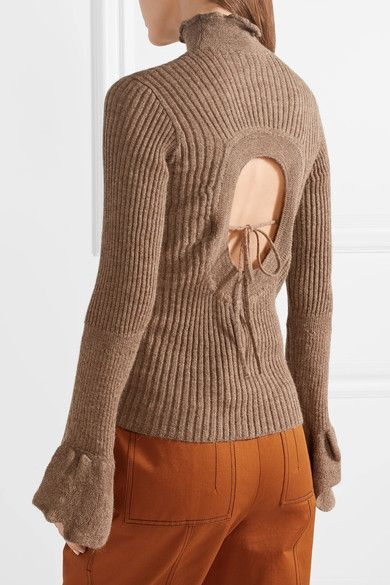 Raine Cutout Ribbed Alpaca And Wool-blend Turtleneck Sweater - Light brown Acne Studios Comfortable Online UTRSo
