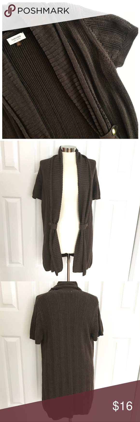 Sonoma Brown Shortsleeve Open Front Sweater | Open front cardigan ...