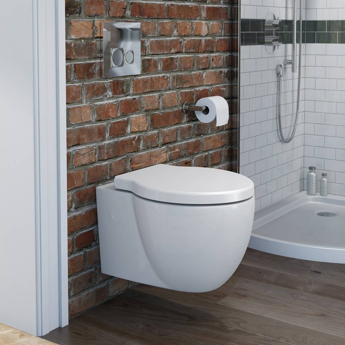 Wall hung bathroom suites - Maine Wall Hung Toilet Inc Luxury Soft Close Seat Victoria Plumb