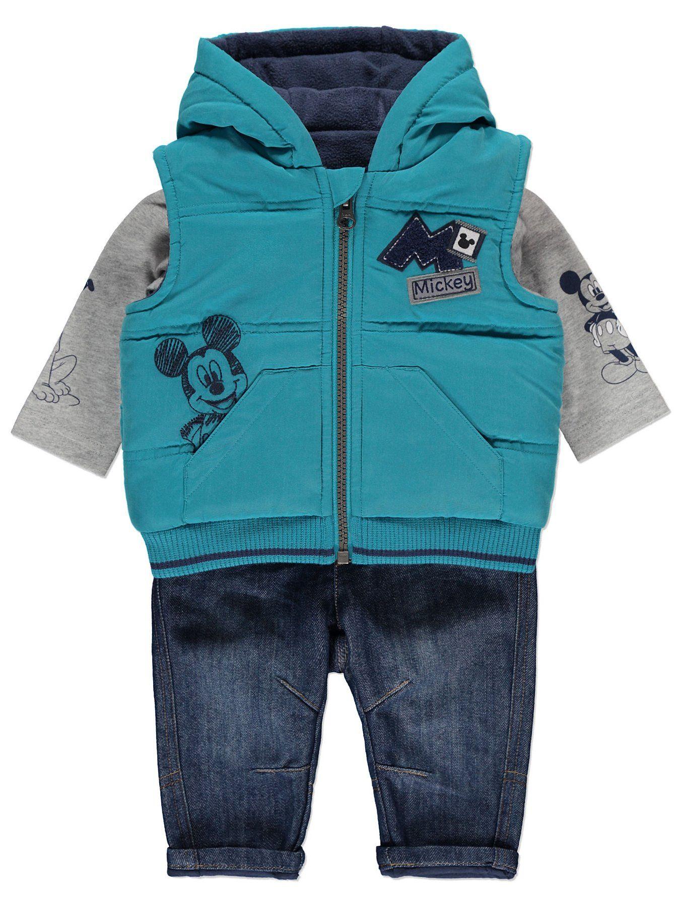 Newborn Baby Boys Dinosaur 3 Piece Fleece Lined Gilet Top /& Trousers Outfit