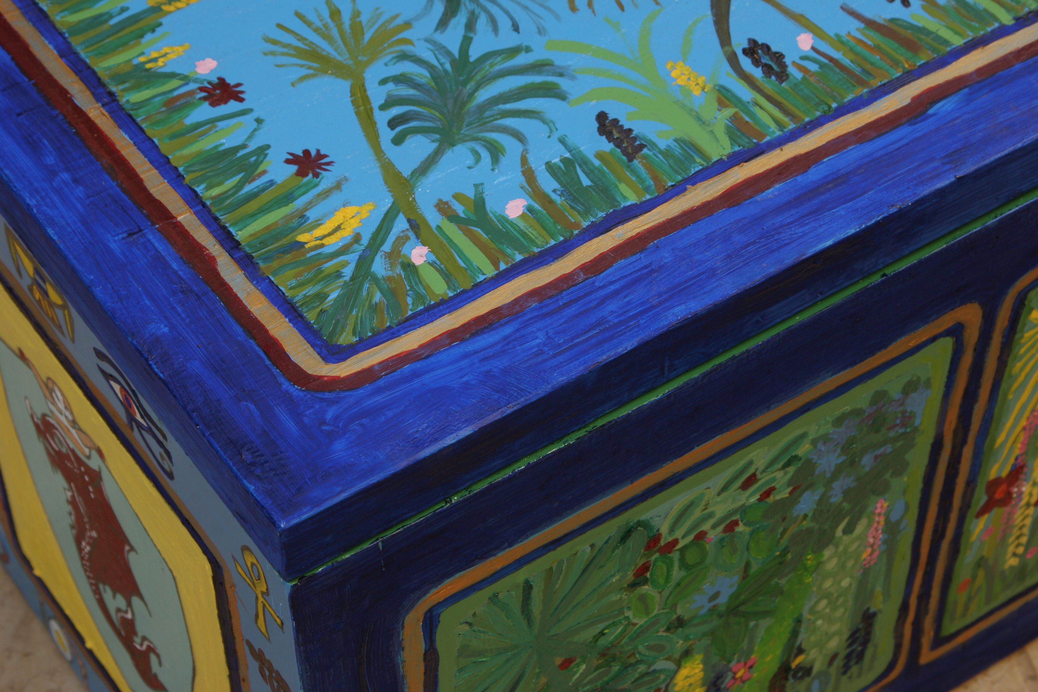 Hand painted blue toy box  By Varda Artisticolors