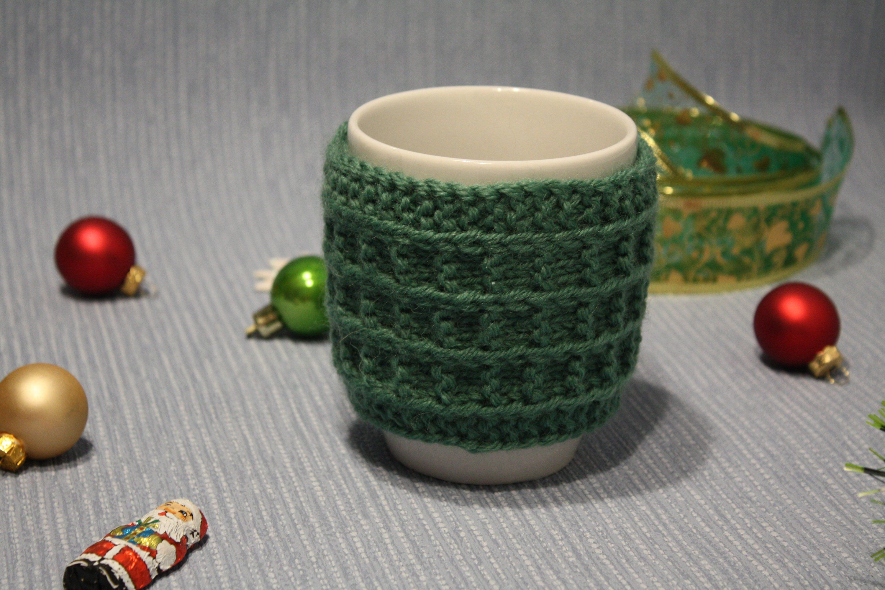 Green сup warm sleeve case. Mug Hugger clothes for gift on