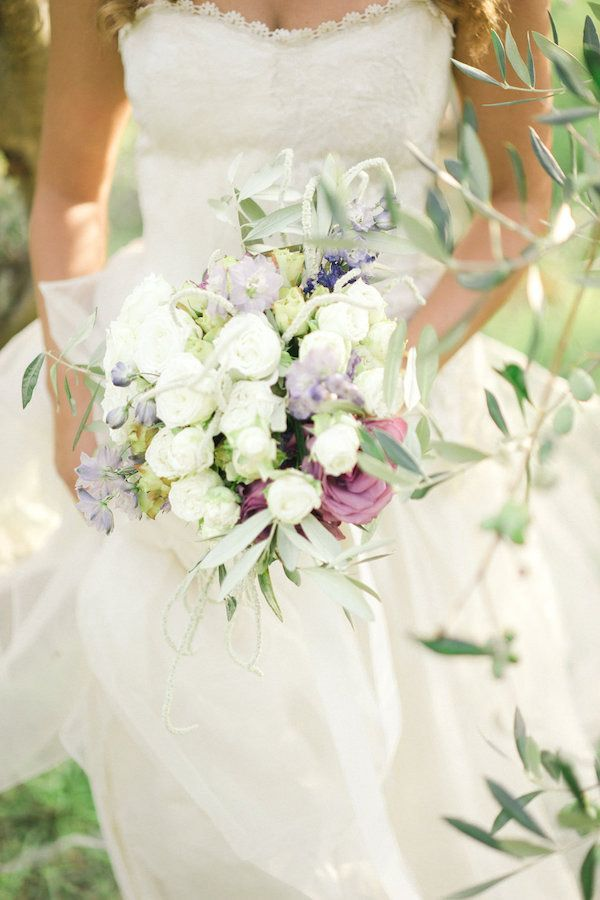 Pastel Purple Bouquet with an Italian Wedding Dress   Alexis Rose Photography   http://heyweddinglady.com/fine-art-italy-tuscan-destination-wedding-olive-grove/