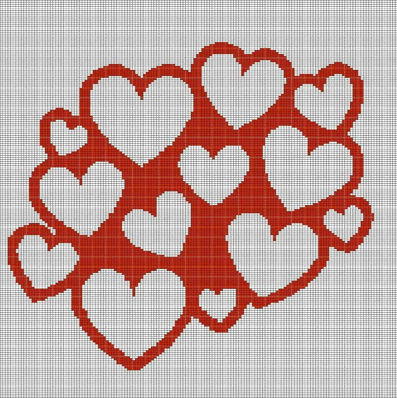 HEARTS+2+CROCHET+AFGHAN+PATTERN+GRAPH | Cosas para hacer | Pinterest ...