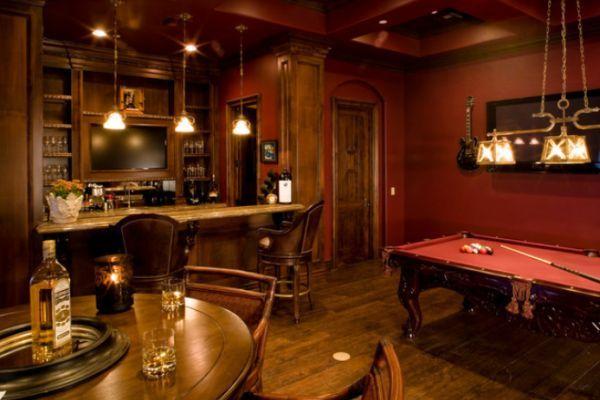 Billards Room Ideas | Elegant And Inviting Billiards Room Featuring A  Custom Bar Pub Style