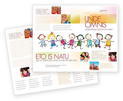 Preschool flyers design funny kids brochure template for Free brochure templates for kids