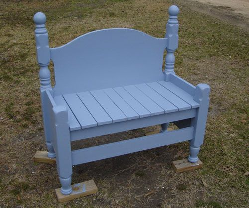 Garden bench from twin bed...DIY Craft Projects Benches from Old Beds - Trash to Treasure - Architectural Salvage