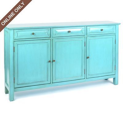 Antiqued Turquoise 3 Door Storage Console Cabinet By Kirkland S 500