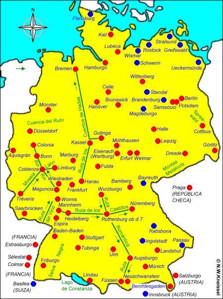 Mapa De Alemania Ciudades.Favor Haz Click En Los Puntos Rojos Ciudades O Verdes
