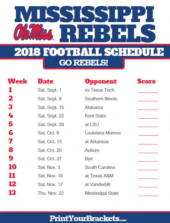 2018 Printable Mississippi Rebels Football Schedule