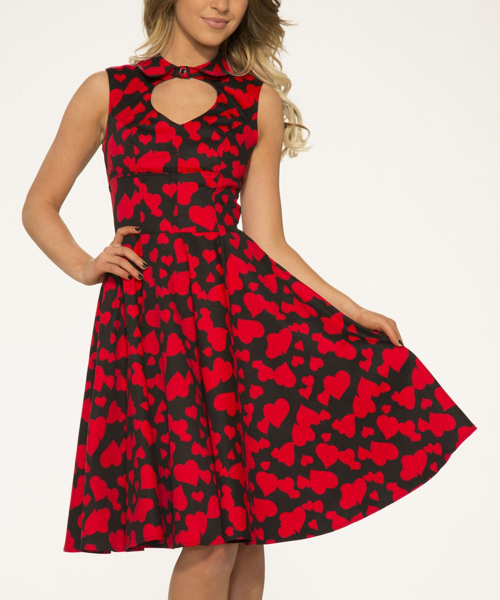 Black u red heart cutout fit u flare dress women u plus fashion