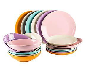 servizio di piatti in gres multicolor 18 pezzi