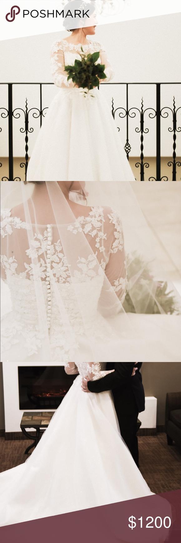 Long sleeve ivory lace wedding dress my posh picks pinterest