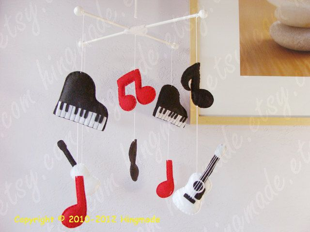Baby Mobile Modern Nursery Mobile Baby Crib Mobile Black Red White Mobile Guitar Piano With Music Themed Nursery Modern Nursery Mobile Baby Crib Mobile
