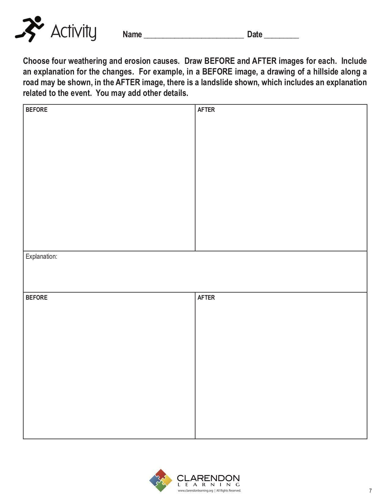 Weathering And Erosion Worksheet Weathering And Erosion In