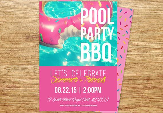 Pool Party Invitation BBQ Summer Birthday Milestone Adult 30th Pink Cocktails