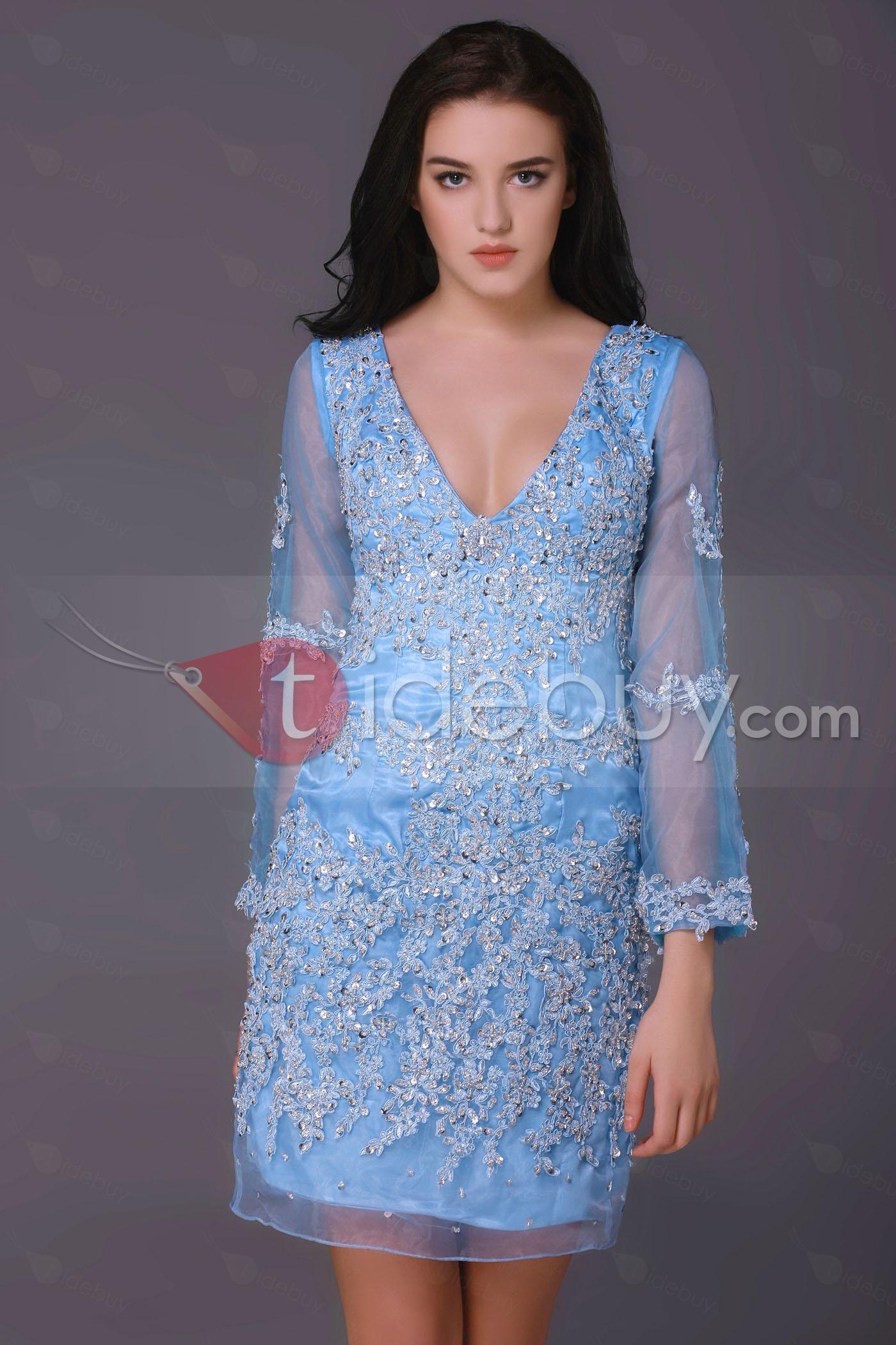 Sheathcolumn vneck longsleeves minilength milanaus mother dress