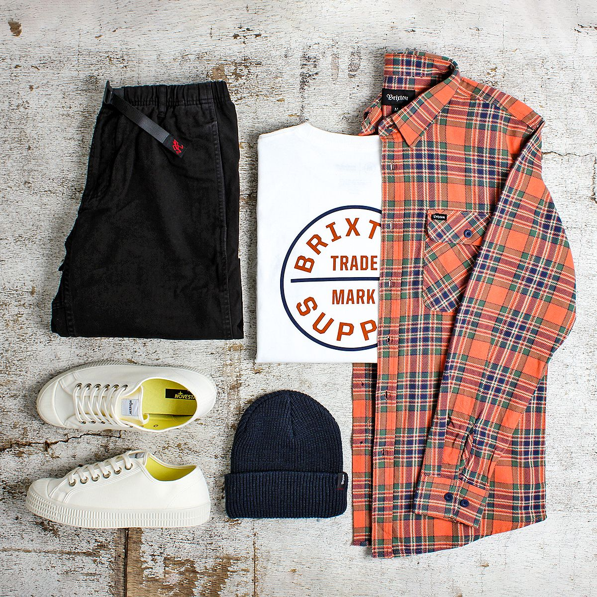 A Brixton Men's Outfit Grid with the Brixton Bowery Long Sleeve Flannel Shirt #outfitgrid