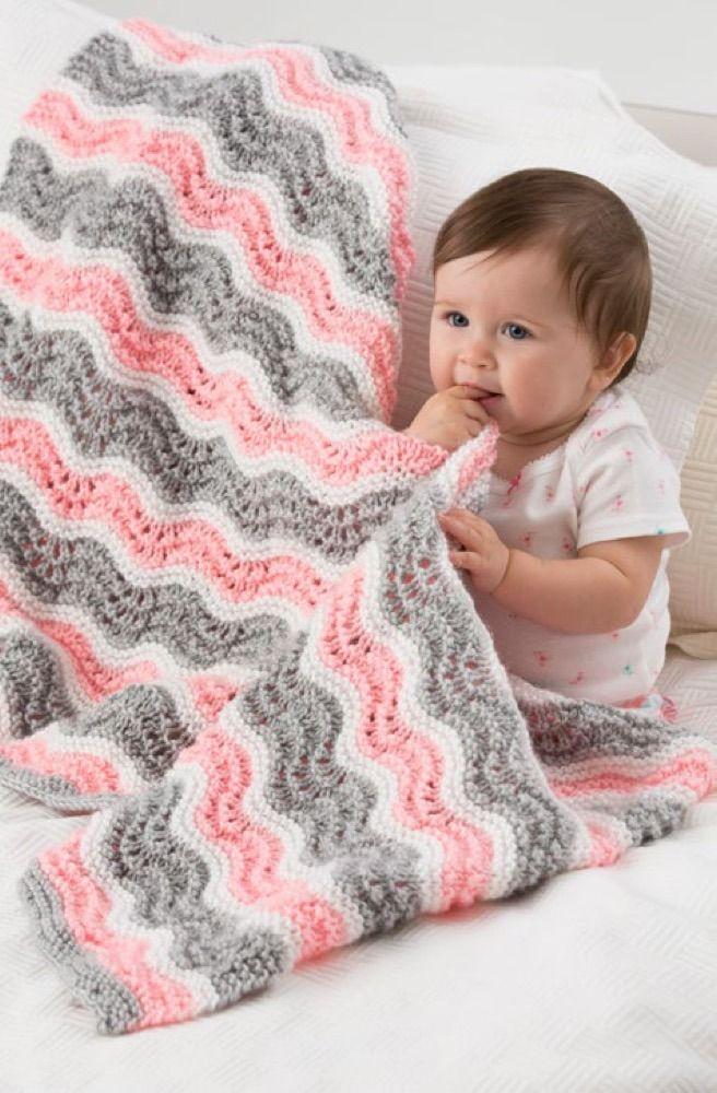 Baby Girl Chevron Blanket in Red Heart Soft Baby Steps ...
