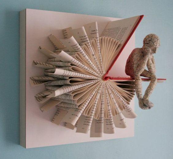 que faire de vos vieux livres crea pinterest book art art and books. Black Bedroom Furniture Sets. Home Design Ideas