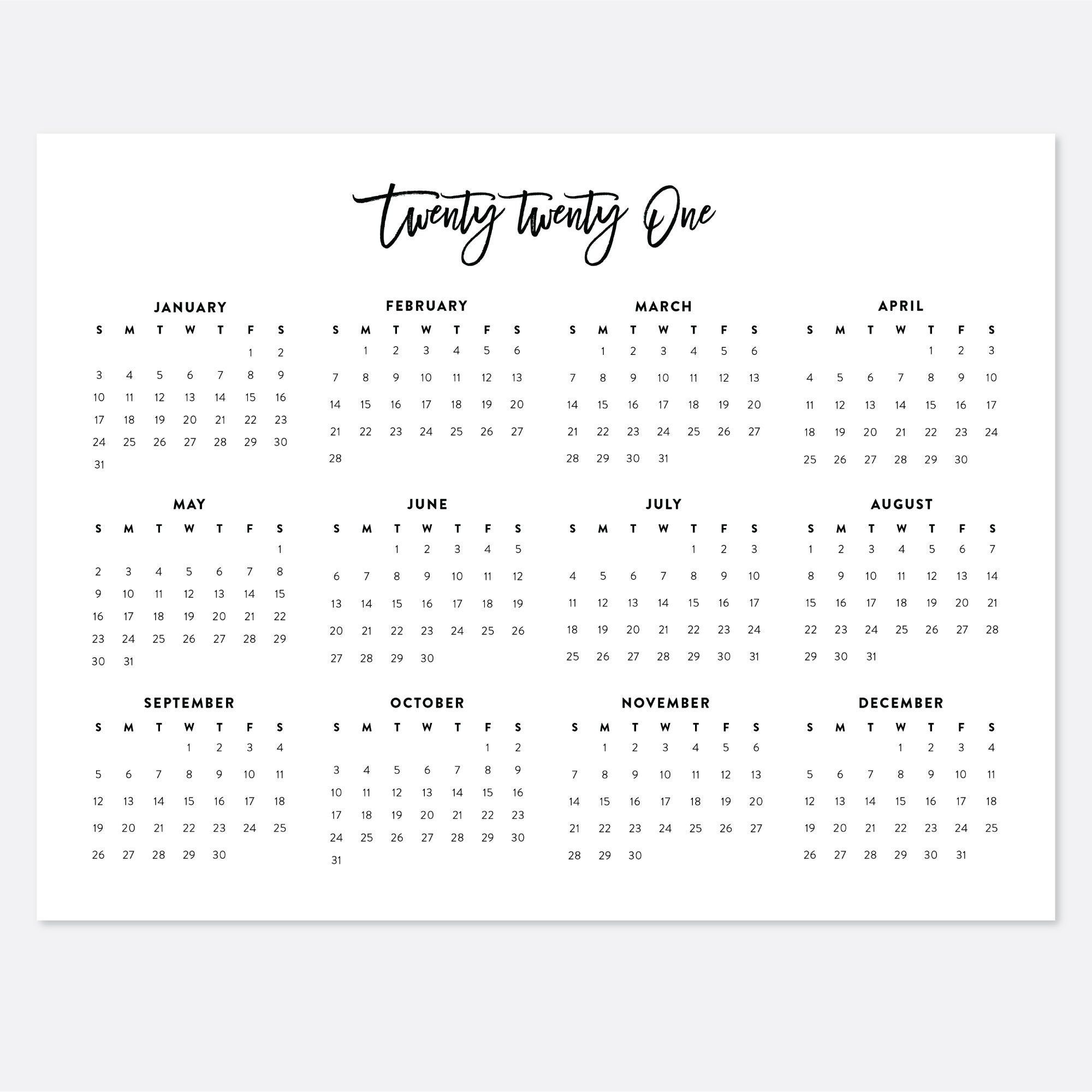 Best Selling Items On Etsy 2021 8.5x11 Printable Calendar 2021 Letter Calendar 2021 Year | Etsy in