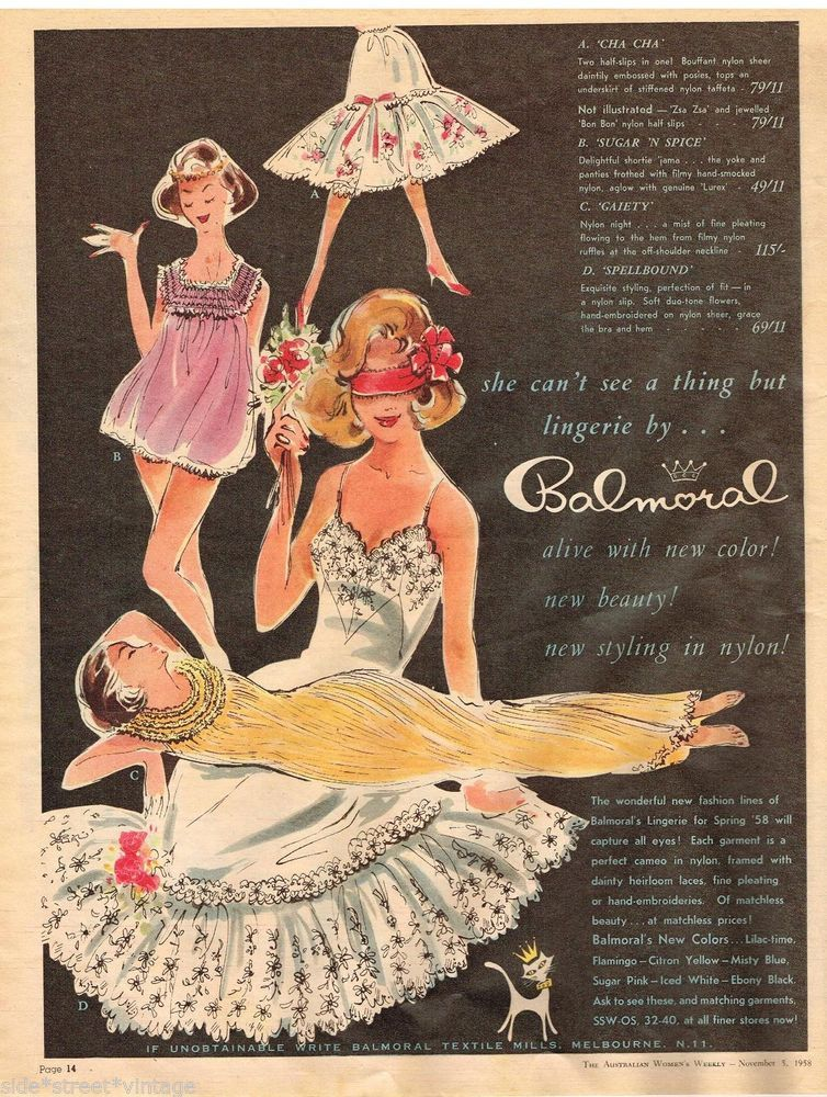 BALMORAL LINGERIE AD  RETRO  Vintage Advertising  5 NOV 1958 Original ADVERT