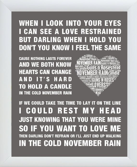 Guns N Roses Music Song Lyrics Quot November Rain Quot Word Art Print Poster Wall Art Print Home Decor Gift Fram Roses Lyrics Rain Words November Rain Lyrics