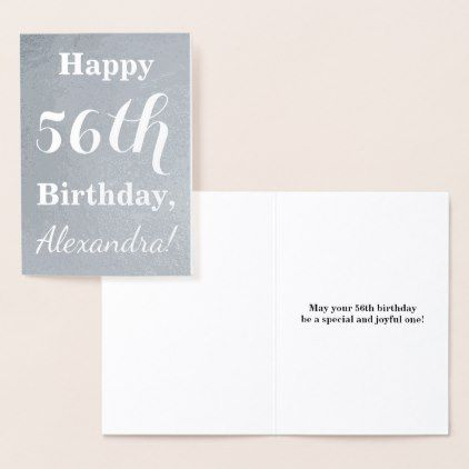 Basic Silver Foil Happy 56th Birthday Name Card
