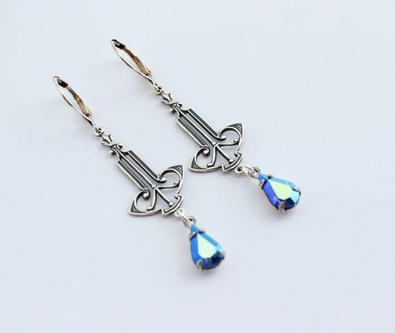 Art Deco style earrings Sapphire AB earrings by CobblestoneAvenue